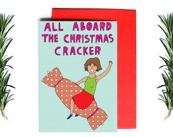 Christmas Card - All Aboard The Christmas Cracker | Greeting Card | Holiday Card | Funny Christmas Card