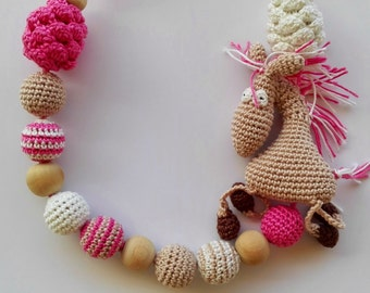 Chew crochet necklace Teething pink beads Nursing necklace Sensory toy Baby shower gift Eco friendly toys Breastfeeding toy