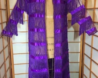 Purple Fringe Coat Mesh Sheer Beaded Spring Summer Overcoat L/XL