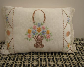 Vintage Linen Handmade Toothfairy Pillow May Basket Ring Bearer's Pillow