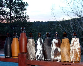 Leather Drink Holder Cowhide Leather Beer Bottle Holder Bison Leather Beer Holder Leather Coolie Leather Beer Holder Leather Anniversary