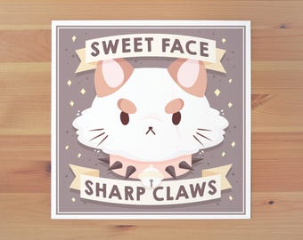 Sweet Face Sharp Claws Print