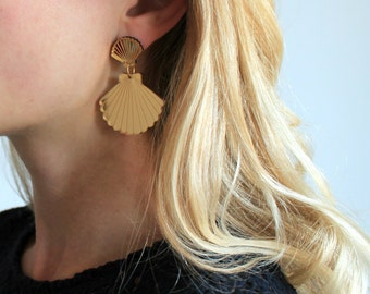 Statement gold seashell double drop earrings