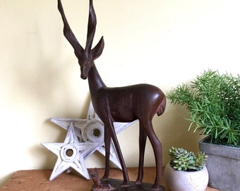 Vintage Wooden Gazelle, Mother and Baby, Wood Figurine, Standing Wood Sculpture, Mid Century