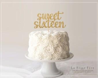 SWEET SIXTEEN gold glitter cake topper