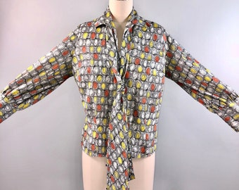 Vintage 50s 1950s Op Art Blouse Polyester Grey Yellow Secretary Bow 38 bust