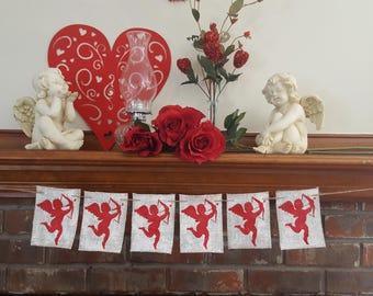 Rustic Cupid Banner, Valentine's Day Banner, Cupid Burlap Banner, Valentines Decor