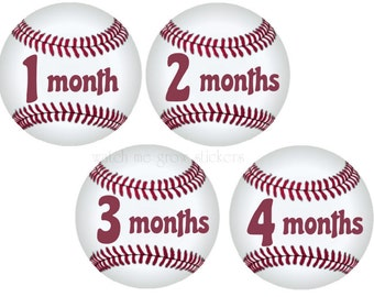 Baby Month Stickers Monthly Stickers Baseball Month Stickers Milestone Stickers Baby Stickers Boys Baby Shower Gift
