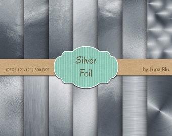 "Silver Foil Digital Paper: ""Metallic Silver Paper"" Silver Scrapbook Paper, Silver Foil Paper, Silver Backgrounds, Silver textures"
