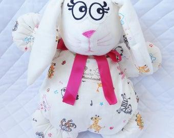 White hare zipper 40 cm