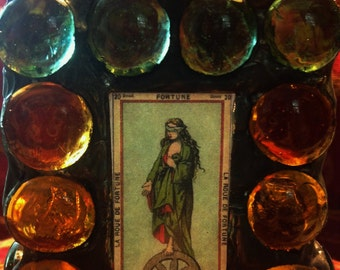 TAROT - Fortune - Gothic Stained Glass   Small Votive Candle Holder