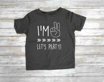I'm TWO Let's PARTY - Birthday Shirt- Second Birthday- Hipster T-Shirt- 2nd Birthday- Im This Many- Birthday- Arrows- 2nd Birthday Tee