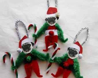 Pug Chenille Dog Christmas Ornaments, Pug,  Vintage Style (141a)