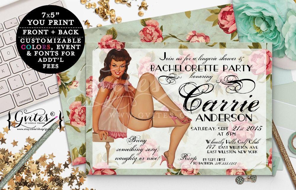 Retro Pin Up Girl Invitations, Vintage bridal shower Bachelorette ...
