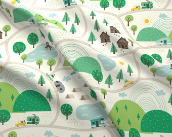 Green Summer Camp Camping Fabric - Lets Go Camping By Stacyiesthsu - Outdoors Summer Camp Kids Cotton Fabric By The Yard With Spoonflower