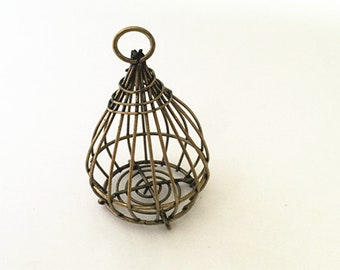 2pcs of Antique bronze birdcage charm 37mmx56mm