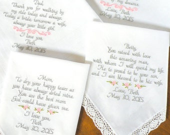 Embroidered Wedding Handkerchief's, Wedding Gifts, Set of 4, Personalized, Mother & Father of, In-Law Stepmother  By Canyon Embroidery