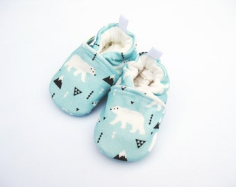 Organic Knits Vegan Polar Bear in Blue / All Fabric Soft Sole Baby Shoes / Made to Order /  Babies