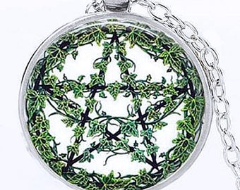 Pentagram Necklace Wicca, Pentacle Earring, Ivy Pentagram Necklace, Pentagram Earrings, Wiccan Necklace, Goddess Necklace, Pentacle Necklace