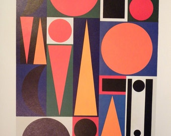 Vintage MOMA art poster Herbin Composition on the word VIE