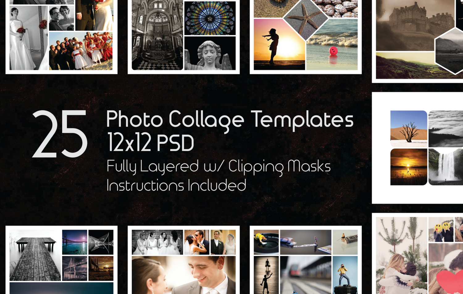 12x12 Photo Collage Templates Pack, 25 PSD Templates, Photoshop ...