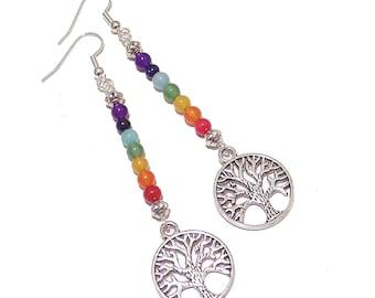 Tree of Life Gemstone Chakra Earrings