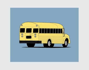 School Bus Art Print, 8x10 PRINTABLE, Instant Download, Digital
