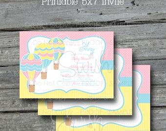 Hot Air Balloon Baby Shower  -  Printable Invite - 5x7 digital file