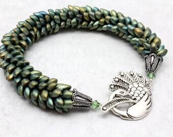 Peacock Kumihimo Bracelet, Magatama Beads, Larger Bracelet, Peacock Colors