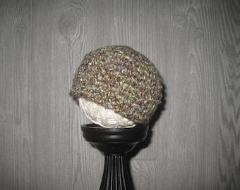 0 to 3 month cream beige hints of blue green Crochet Hat
