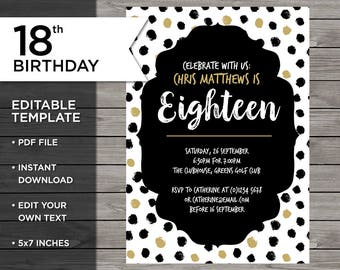 Th Birthday Invitations Etsy - 18th birthday invitation templates