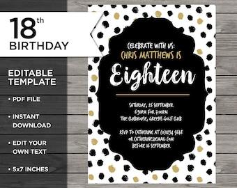 18th birthday invitations etsy teenager birthday 18th birthday invitation 18th birthday invitation template 18th invitation editable stopboris Gallery