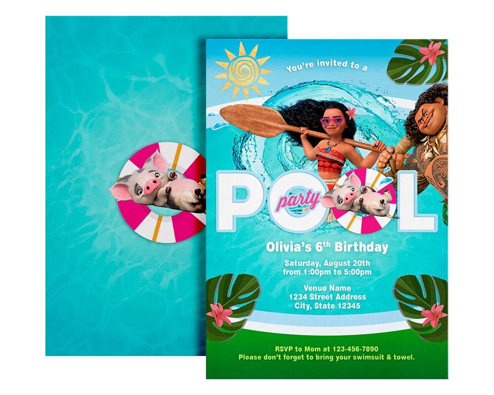 Moana Pool Party Invitation Moana Invitation Pool Party