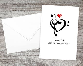 Sweet I Love You Cards - Anniversary Cards - Engagement Cards - Wedding Cards - Just Because I Love You Cards - I Love the Music We Make