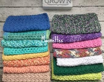 Handmade Cotton Dish Cloth Choice of Color Crochet Dishcloth Cotton Wash Cloths Facecloth Skincare Bath Cloths