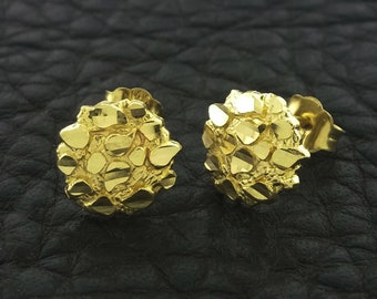 Yellow Gold Nugget Stud Earrings, Nugget Earrings, 14k Gold Nugget  Earrings, Gold Nugget Stud Earrings, Round Nugget Earrings
