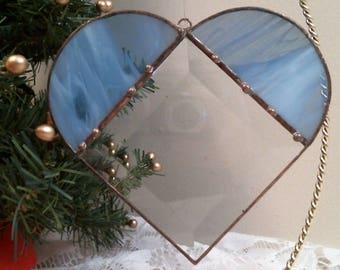 BLUE stained glass & bevel HEART suncatcher or ornament