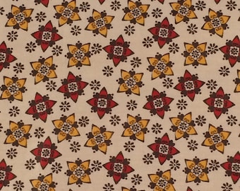 Vintage Cotton Fabric / Mid Century Cotton Fabric / Retro Cotton Fabric / Red and Yellow Floral Fabric / Vintage Cotton Fabric / Quilting