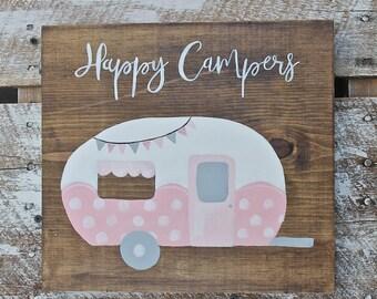 Happy Camper wood sign, Camper decor, camper sign