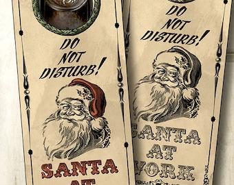 printable Door Hanger Santa at Work, NSTANT DOWNLOAD digital collage sheet