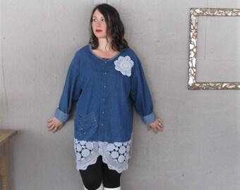 upcycled clothing recycled denim tunic jacket coat wearable art X large 1 X Boho Bohemian recycled lace shirt repurposed LillieNoraDryGoods