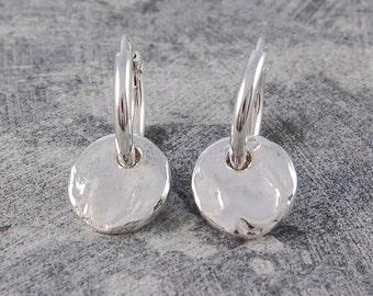 Hoops - Hoop Earrings - Boho Earrings - Silver Drops - Gold Drops - Round Earrings, Hammered Earrings, Organic Earrings, Small Hoop Earrings