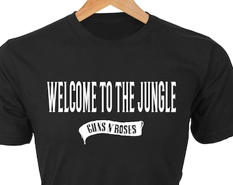 Welcome to the Jungle — Classic black tee with white words and Guns N' Roses banner. Created for true GNR fans.