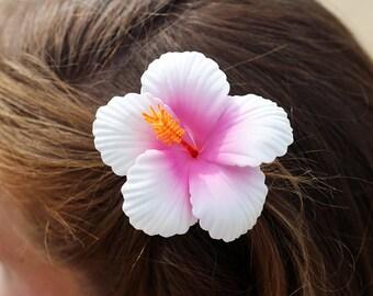 Hibiscus, 2 3/4 Inch Hair Flower, Beach Wedding, Hibiscus Clips, Women's Hair Clip