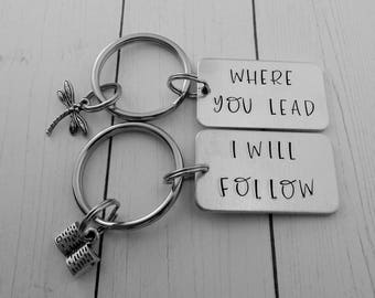 Mother Daughter Keychains - Where You Lead I Will Follow - Set of 2 Hand Stamped Key Chains - Best Friend Gift - Mother's Day - Pop Culture