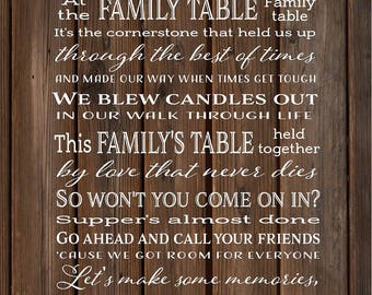 Family Table Lyrics Zac Brown Band Wood Sign, Canvas Wall Art - Christmas, Sympathy