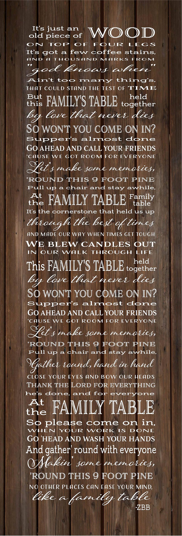 Family Table Lyrics Zac Brown Band Wood Sign Canvas Wall Art
