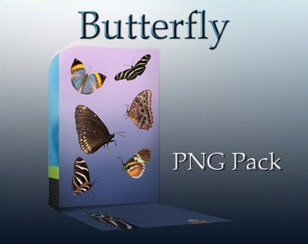Butterfly PNG Overlay Pack #1  - 6 png files - Butterfly cutouts - Photoshop overlays - butterfly wings
