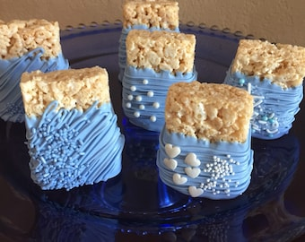 Boys Blue Chocolate Covered Rice Krispie Treats(1 DOZ)/Birthday Party/Thank You Gift/Hostess Gift/Team Parties/Baby Showers/Baby Boy