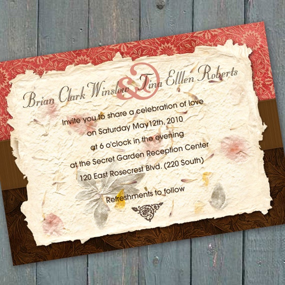wedding invitations, bridal shower invitations, coral and chocolate bridal shower invitations, birthday party invitations, coral party